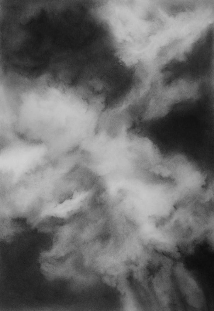 Wolke o7, zeichnung auf papier, 70 x 10 cm ,2015